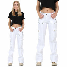 New Ladies Womens White Wide Leg Loose Lightweight Cargo Combat Trousers Pants