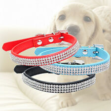 3 Row Bling Rhinestone Pet Dog Faux Leather Buckle Cat Puppy Collar Truly