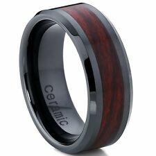 Men's Women's Black Ceramic Unisex Wedding Band Ring with Wood Simulant Inlay, 8