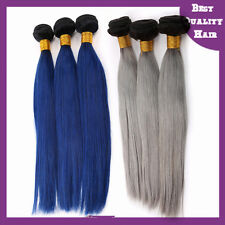 200g SET OF 2 Granny Gray/Bule Ombre Brazilian Human Hair Extensions Hair Weave