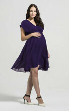 Rock-a-Bye Rosie Annabella Maternity Chiffon Pleat Front Tunic Dress Purple 8-18