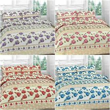 ROSES FLORAL BLUE LILAC PINK RED DUVET QUILT COVER BEDDING PILLOWCASES SET