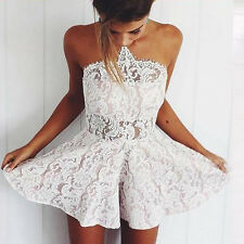 High Waist Lace Short Rompers Womens Floral Jumpsuits Playsuits Sexy Strapless H