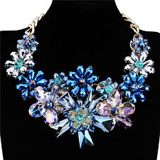 Multi-Color Blue Flower Rhinestone Glass Bib Statement Leather Choker Necklace