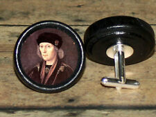 Tudor history KING HENRY VII Altered Art CUFF LINK or HAIR PIN pair Set
