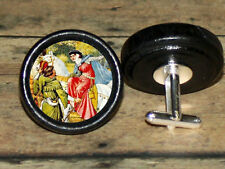 MAID MARION and ROBIN HOOD Altered Art CUFF LINK or HAIR PIN pair Set