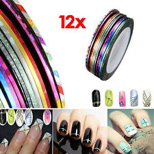 12pcs for Nail tool Colorful Art Stickers Adhesive Striping Tape Line DIY Design