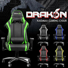 Raidmax Drakon Reclinable 180° Gaming Chair Seat Adjustable Headrest NEW