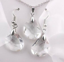 Crystal White Fashion Necklace Earrings Shiny Gold Plated Jewelry Set Womens