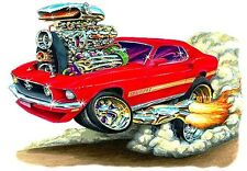 1969 Ford Mustang Mach 1 Muscle Car-toon Art Tshirt NEW