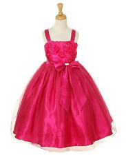 New Fuchsia Hot Pink Flower Girls Dress Easter Christmas Party Pageant 6006KK