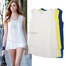 O-Neck Women Casual Chiffon Sleeveless Multilayer Irregular Tank Top Blouse CO99