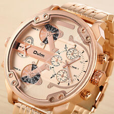 Oulm Stainless Steel Quartz Gold Band Oversize Golden Face Analog Wrist Watch