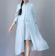 New Womens Retro Cotton Linen Chinese Fashion Casual Long Loose Dress Summer H49