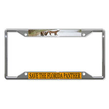 SAVE THE FLORIDA PANTHER ANIMAL Metal License Plate Frame Tag Holder Four Holes