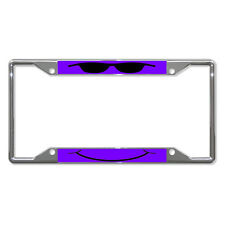 COOL FACE PURPLE Metal License Plate Frame Tag Holder Four Holes