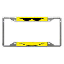 COOL FACE YELLOW Metal License Plate Frame Tag Holder Four Holes
