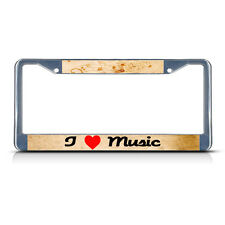 I LOVE MUSIC HEART Metal License Plate Frame Tag Border Two Holes