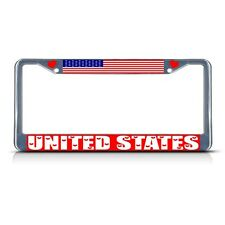 UNITED STATES COUNTRY FLAG Metal License Plate Frame Tag Border Two Holes