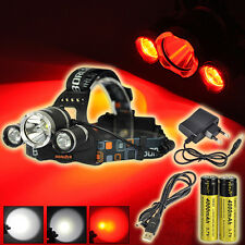 Rechargable 6000lm XM-L T6+2R2 Red LED Headlamp Headlight USB Lamp 18650 Charger