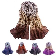 New Girls Women's Leopard Long Soft Wrap Lady Shawl Chiffon Silk Scarf Fashion