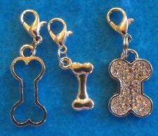 Dangle Dog Bone Clip On Charm Lobster Clasp Fit Link Chain Floating Locket