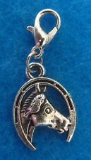 Dangle Horse Head  Clip On Charm Lobster Clasp Fit Link Chain Floating Locket