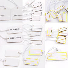 New 100/500/1000PCS Label Paper Tag Hang Card Price Blank With Elastic Cord