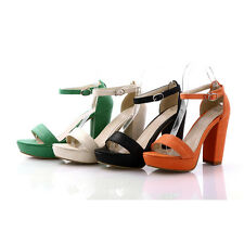 Womens High Heels Platform Nude Open Toe Ankle Strap Pumps Dress Sandals AU