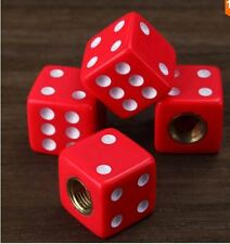 Red Dice Tyre Valve Dust Caps x4 Car, Bike, Van, BMX, Scooter, Truck, JDM DUB
