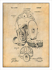 1927 Football Helmet Patent Print Art Drawing Poster 18X24