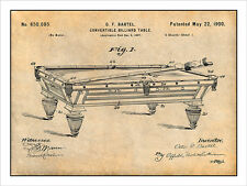 1897 Convertible Billiard Table Patent Print Art Drawing Poster 18X24