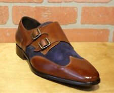 Calzoleria Toscana Men's Monk Strap Mahogany/Blue Leather/Suede Dress Shoes 1689