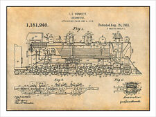 1913 Bennett Locomotive Patent Print Art Drawing Poster 18X24
