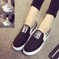 Fashion Women Canvas Flats White Slip On Sneakers Loafers Shoes Casual Footwear