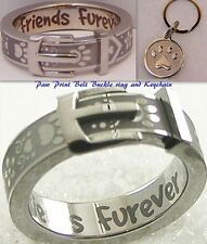 "Silver Paw Print Belt Buckle Ring ""Friends Furever"" Stainless Steel + Keychain"