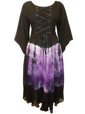 Womens plus size 22 to 30 Dress Black / purple medieval corset style 3/4 sleeve