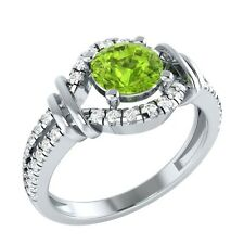 0.90 ct Real Peridot & Authentic Diamond Solid Gold Wedding Engagement Ring