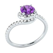 1.15 ct Real Amethyst & Authentic Diamond Solid Gold Wedding Engagement Ring