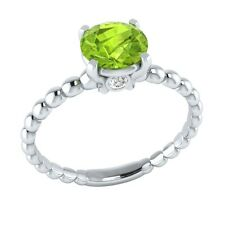 0.65 ct Real Peridot & Authentic Diamond Solid Gold Wedding Engagement Ring