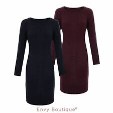 WOMENS LADIES KNIT RIBBED LONG JUMPER WIDE HEM KNITTED ROUND NECK PULLOVER DRESS