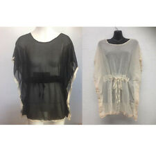NEW Ladies Sheer Cream Top with Lace Trim - Ajoy Brand FREE SIZE