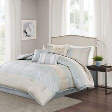 7pc Luxury Seafoam & Taupe Comforter Bedding Set w/Bed Skirt Shams AND Pillows