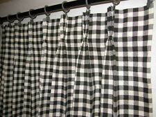French Country Cafe Tiers 100% cotton Pinch Pleated PANEL Curtain Black Check
