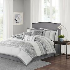7pc Luxury Grey & Silver Comforter Bedding Set with Bed Skirt Shams AND Pillows