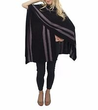 Jessica McClintock Women's Cape Ruana Wrap Shawl Striped Knit Pashmina Poncho