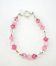 Pink Cats Eye Beads with Pink, Rose and Clear Crystals Bracelet