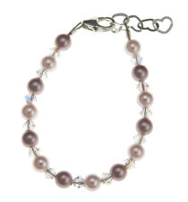 Rose & Pink Swarovski Pearls with Clear Crystals Bracelet