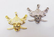 925 Sterling Silver ICED OUT SKULL PIRATE Pendant  for MEN + FREE CHAIN