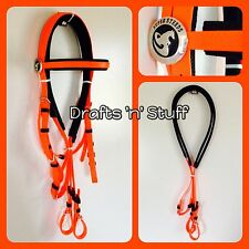 BEST QUALITY NEON ORANGE SOFT PVC COB FULL DRAFT BARCOO STOCK HORSE BRIDLE REINS